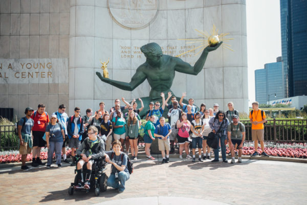 Photo of JDAIM participants at The Spirit of Detroit Statue